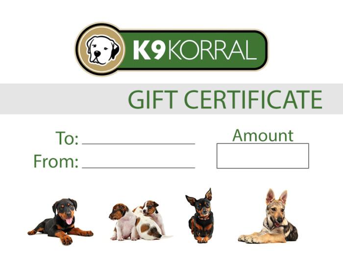 K9 Korral Gift Certificate